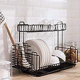 HotEU Égouttoir à vaisselle à 2 étages en fer avec plateau d'égouttage et support de baguettes 33 * 39 * 20CM Noir