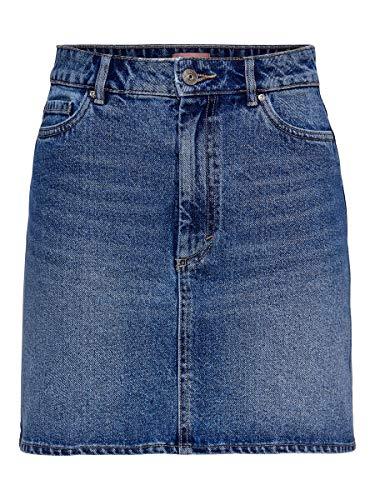 Only ONLROSE Life ASHAPE Skirt BB NAS2661 Falda, Medio de Mezclilla Azul, 38 para Mujer