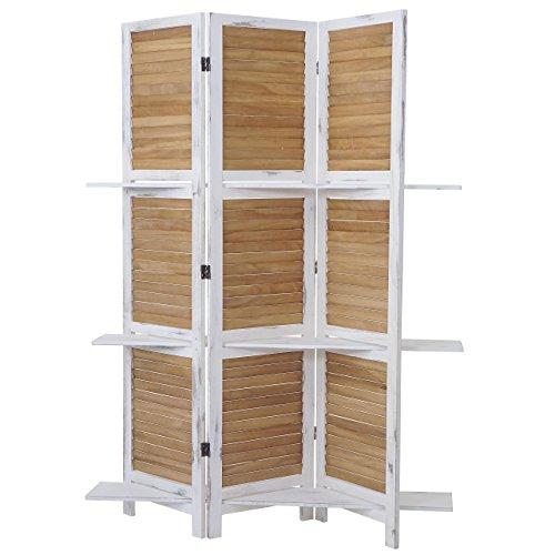 Mendler - Biombo yvelines de separación con fondo de estantería, 170 x 125 cm, color blanco y marrón