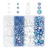 PandaHall 3610 perlas de espalda plana, 6 tamaños de perlas de imitación media redonda de cabujón para manualidades, álbumes de recortes, adornos, zapatos, vestido de boda y fabricación de uñas