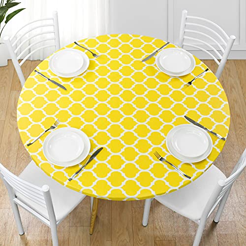 Yoochee Round Fitted Vinyl Tablecloth with Flannel Backing Elastic Edged Waterproof Oil Proof PVC Table Cover for Indoor Outdoor Patio Table Use Round Table Protector (40'-44', Round, Yellow)