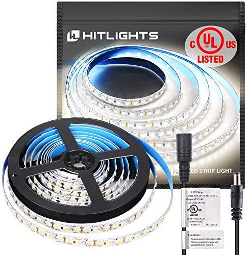 UL-Listed LED Strip Lights, HitLights Cool White 2835 LED Light Strip - 5000K, 360 LEDs, 10 Feet - 1738 Lumens /m, 4.6 Watt per Foot - 12V DC Tape Light