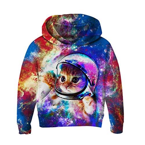 chicolife Kinder Outdoor Kapuzenpullover 3D Katze mit Helm Print Pullover Grafik Sweatshirt Langarm Pullover für Jungen Mädchen