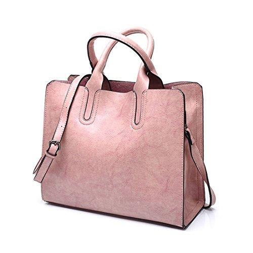 DEERWORD Damen Henkeltaschen Damenhandtaschen Frau Handtaschen Klein PU-Leder Tote Schultertaschen Rosa
