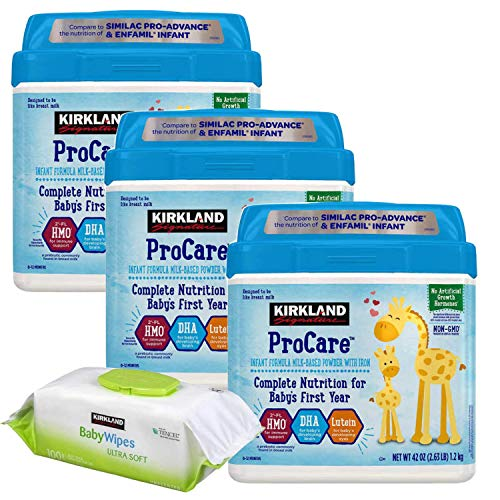 Kirkland Signature Non-GMO, ProCare Infant Formula With Iron Milk Based Baby Formula, Powder 42 oz (3 Packs), 100-Count Baby Wipes Sampler Included