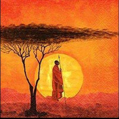 20 Servietten Afrika Romantik Safari Krieger Massai Masai Sonnenuntergang 33 x 33cm