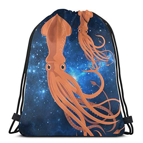 OPLKJ Bolsas con cordón de gimnasio, Mochila de dos calamares Mochila Mochila para adultos Bolsa de sacos de gimnasio para viajes Bolsa de almacenamiento de uniformes de playa