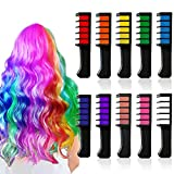 Hair Chalk for Girls Temporary Washable Hair Color Dye for 6 7 8 9 10 Year Old Girls and Cosplay DIY Festival Party Halloween New Year Christmas Birthday Presents Mini 10PCS