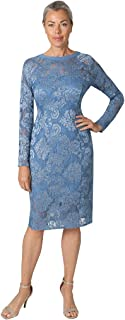 Marina Women's Long Sleeved Lace Cocktail Midi Dress