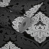 TRENDWALLS Papel pintado barroco negro y blanco con adornos, papel pintado no tejido barroco mate brillante estructurado