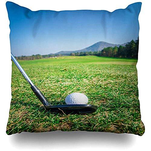 Mackinto Kissenbezug Platz 18 x 18 Freizeit Chipping Golfball auf Green Driver Close Natur Aktivität Sport Erholung Closeup Wolken