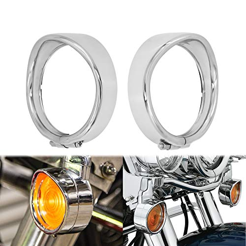 HDBUBALUS Chrome Visor Style Turn Signal Trim Ring Cover Fit for Harley Touring Electra Glide Road King Softail