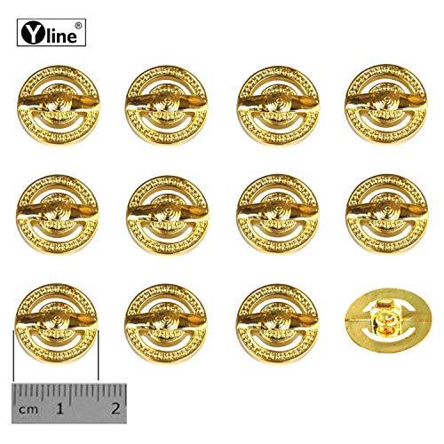 12 oogknoppen, kunststof goudkleurig 15 mm, voor het naaien van oogjes blouses kostuum sieraad knop, 3127-01-3.0