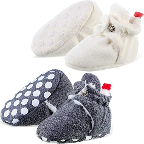 2 Pairs Baby Winter Booties Newborn Cozy Fleece Boots Non-Skid Soft Sole Shoes Infant Toddler First Walkers Crib Warm Winter Socks for Boys Girls