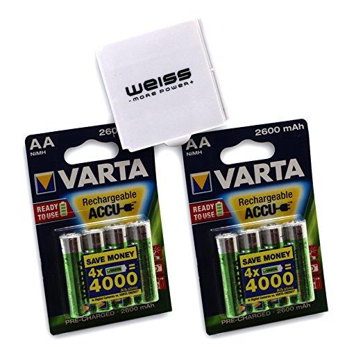 VARTA - Pilas Recargables Caja de 8 Pilas AA 2600 mAh. 8er Pack + Box