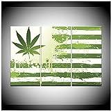 Pintura en lienzo, cabecera de hierba, bandera abstracta, 3 piezas, pintura de arte de pared, fondos de pantalla deportivos modulares, póster, impresión, decoración del hogar