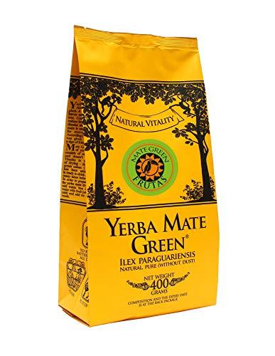 Yerba Mate Green 'Frutas' Brasilianischer Mate-Tee 400g | Fruchtiger Mate Tee, Goja, Cranberry, Himbeere, Maulbeere, Orangenschale, Yerba Mate Tee mit Früchten, Hohe Qualität, Glutenfrei, Vegan