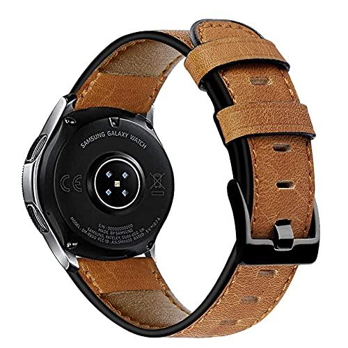 GhrKwiew Correas para Moto 360 2 46mm, Correa Vintage de Cuero Genuino 22mm Correa de Reloj de liberación rápida 7 Colores para Samsung Galaxy Watch 3 45mm / Reloj 46mm / Gear S3 (Marrón01)