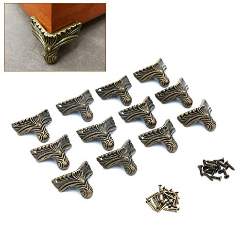 Anmeilexst 12 Pcs Vintage Bronze Foot Wooden Box, Gift Box, Jewelry Box Leg Foot Corner Protector (Contains Bronze Screws)