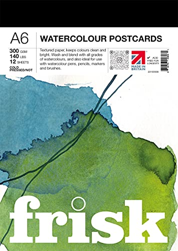 Frisk 23193006 Watercolour Paper Postcard Pad A6 300gsm 12sheets Aquarellpapier-Postkarten-Block, weiß