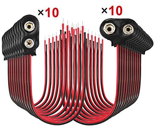 9V Batterie Clip 9V Batterie Anschluss 20PCS 9V Batterieclip für 9V Blöcke Stecker Anschluss Kabel Schwarz I -Typ +Schrumpfschlauch