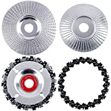 Aodaer 4 Pieces Angle Grinder Disc Wood Carving Disc Tungsten Grinding Wheel Grinder Chain Disc 22 Teeth Replacement Chain Wood Polishing Shaping Disc for Wood Cut Polishing Wheel Plate