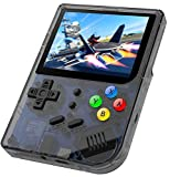 MJKJ RG300 Handheld Game Console , Retro Game Console with Open Linux System , Built-in 3007 Classic Game Console 3 Inch IPS Screen Portable Video Game Console - Transparent Black
