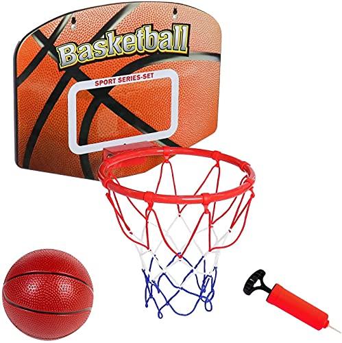 AKAMAS Aro de baloncesto portátil mini baloncesto para puerta borde de pared combinado con bomba de bola accesorios tablero tablero tablero niños regalo de cumpleaños para niño niña niños