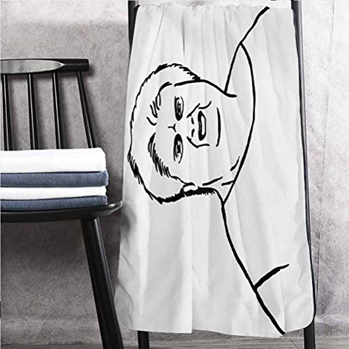 "ParadiseDecor Humor Best Towels Machine Washing Towels Chubby Guy Meme Fat Angry Facial Expression Display Internet Character Print Black and White 24"" W x 50"" L"