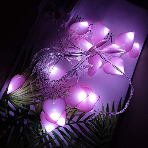 Yiwa Led-lichtsnoer, hartvorm, bruiloft, fee, lichtketting, voor party, slinger, kamer, decoratie, 1,5 m, 10 lampen, roze, love, wit