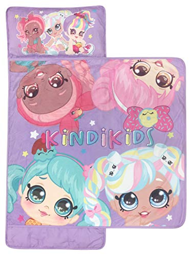 Kindi Kids Best Friends Nap Mat - Built-in Pillow and Blanket Featuring Peppa-Mint & Marsha Mello - Super Soft Microfiber Kids'/Toddler/Children's Bedding, Ages 3-5 (Official Kindi Kids Product)