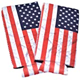 CHILLZEY - 12oz Slim Can Cooler Neoprene Sleeves for beer and hard seltzer cans. Fits Michelob Ultra, White Claw, Truly, Red Bull, and other skinny cans. 2 pak (American Flag)
