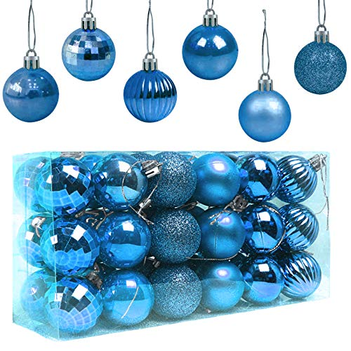 Popglory - Palline di Natale per albero di Natale, 4 cm, 36 pezzi, decorazione natalizia, in plastica, 8 colori, decorazione per albero da appendere