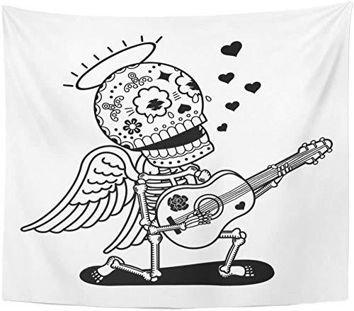 Angel Guitar Sing Serenade Calaveras Tapiz plano y lineal Decoración para el hogar Colgante de pared para sala de estar Dormitorio Dormitorio 150x200cm