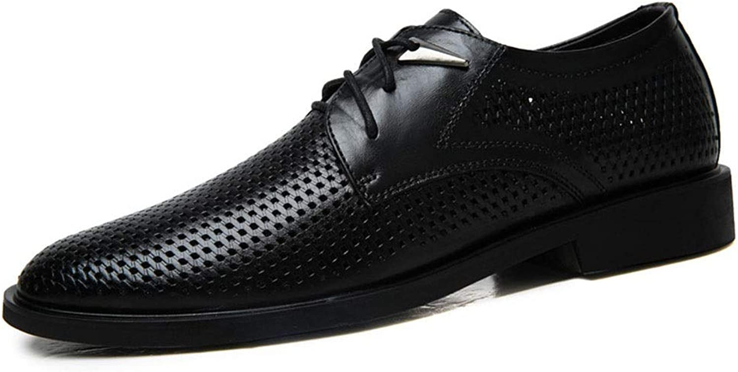CATEDOT Oxford shoes for Men Business Casual Genuine Leather shoes WingTip Breathable Lace Up Cool Oxfords Wedding shoes (color   Black, Size   6UK)