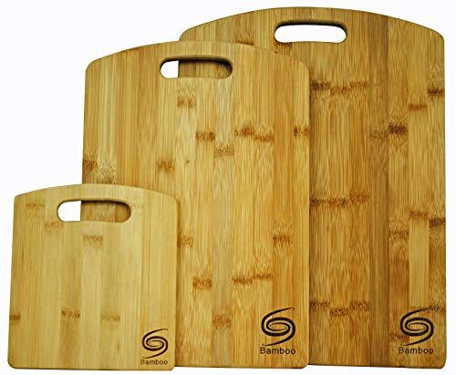 Organic Premium Bamboo Cutting Board Set of 3 Eco Friendly Truly Durable FDA Quality Chopping Boards for All Food Needs Every Kitchen Must Have Grand Sierra Designs