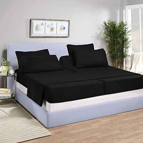 PS Linen & Bedding Split-King: Adjustable King Bed Sheets 5Pc 100% Egyptian Cotton Solid Black 800-Thread-Count, 15 Inch Deep Pocket
