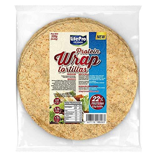 Life Pro Fit Food Protein Wrap Tortillas Proteicas 8x40g | 8,8g de proteína por cada tortilla | Tortilla mejicana con un alto contenido de proteínas | Cuida tu cuerpo con nuestros Wraps Proteicos