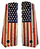 Premium Gun Grips Full Size 1911 Grips Compatible Replacement for Colt Gov & Clones UV Printed HD Image of Rustic 'OL Glory US Flag Over Diamond Wood Laminate