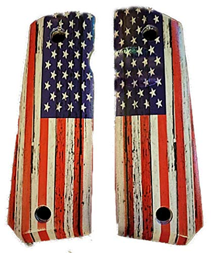 Premium Gun Grips 1911 Grips Compatible Replacement for Colt Gov & Clones Rustic 'OL Glory US Flag UV Printed Over Diamond Wood Laminate