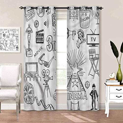 painting-home Decorative Blackout Curtains Movie Theater, Sketch Oscar Thermal Insulated Draperies for Bedroom and Sliding Glass Door W63 x L45 Inch