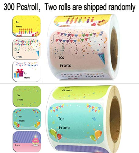 Happy Birthday Gift Tag Stickers 1.5 x 2 Inch - Birthday Gift Labels - 300 Adhesive Labels Present Stickers for Birthday, Party, Baby Shower Christmas Festival Holiday Decorative Presents 3 Designs