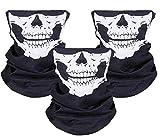 ZKSMNB 3 Stück Nahtlos Schädel Gesicht Schlauch Maske Motorrad Gesichtsmaske für Motorrad, Fahrrad, Wandern, Ski, Halloween (Weiß und Schwarz)
