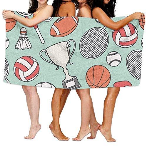 Gebrb Duschtücher/Badetücher,Strandtücher, Bathroom Towels, Football Basketball Sports Element, Oversized Foot Best Bath Towel Beach Towels for Girls, Bath Set Bathroom Accessories