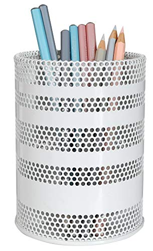 Produco Metal Pen Pencil Holder Pencil Cup Office Desk Organizer Makeup Brush Holder, White Large