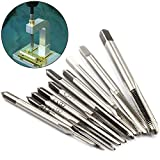 10 Pcs Micro Taps Metric Straight Flute Hand Tap Sets, High Speed Steel Machine Tap Sets for Clocks and Watches Tapping By STARVAST Size M1-M3.5