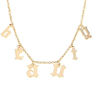 AOCHEE Personalized Old English Initial Necklace Custom Monogram Layered Name Choker