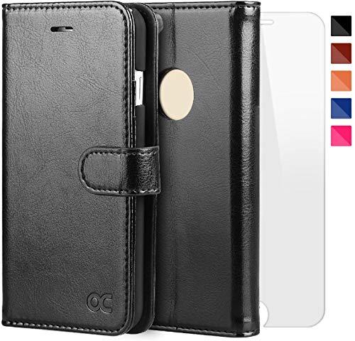 OCASE iPhone 6 Hülle Handyhülle iPhone 6S [ Gratis Panzerglas Schutzfolie ] [Premium Leder] [Standfunktion] [Kartenfach] [Magnetverschluss] Schlanke Leder Brieftasche für iPhone 6/6S Schwarz
