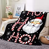 Santa Claus Candy Canes Christmas Super Soft Warm Cozy Flannel Throw Blanket for Bed Crib Couch Fit Boys Girls Adults Kids (Candy Canes, 60'x80')