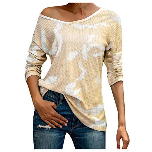 YANFANG Camiseta de Manga Larga Mujer,Moda Mujer Sexy Tops Tie-Dye Suelta,de Moda Primavera Otoño Elegant Color Sólido Camisa Camiseta Larga Sudadera Casual Cuello Redondo Top Túnica Tops Jersey